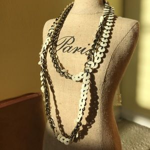 White sequin/beaded antique gold chain necklace